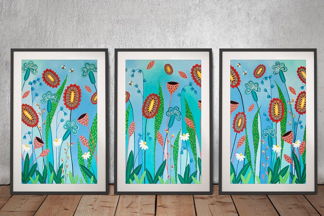 Framed Floral Triptych Art Gift Ideas Online