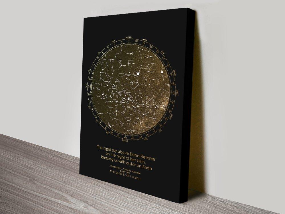 Bronze Custom Star Map Canvas Print Sydney