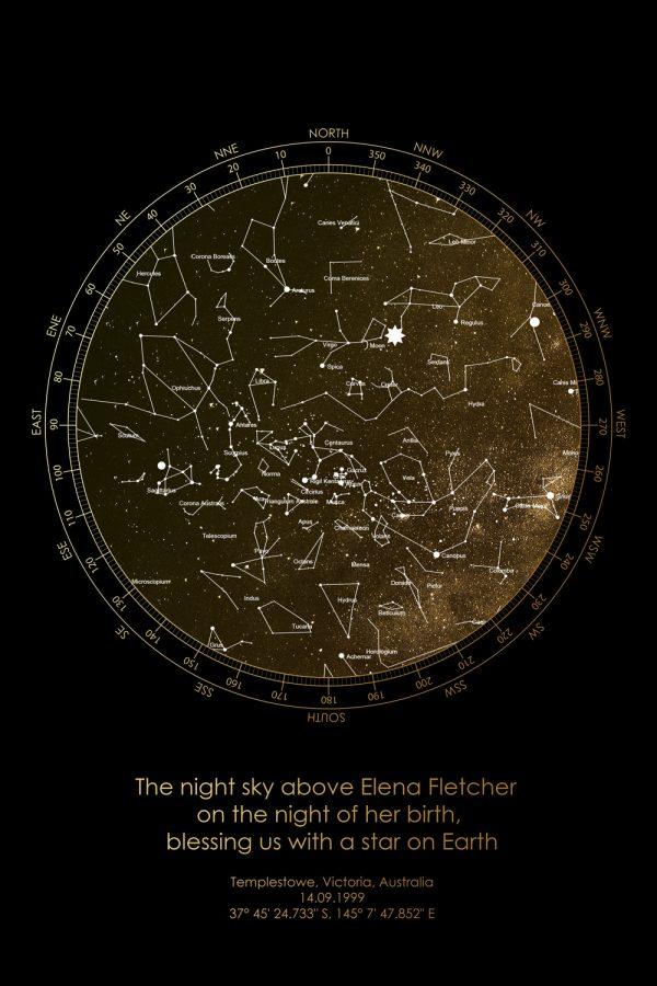 Bronze Custom Star Map Canvas Prints