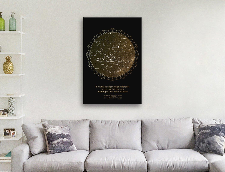 Bronze Custom Star Map Canvas Wall Art