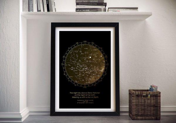 Bronze Custom Star Map Framed Wall Art