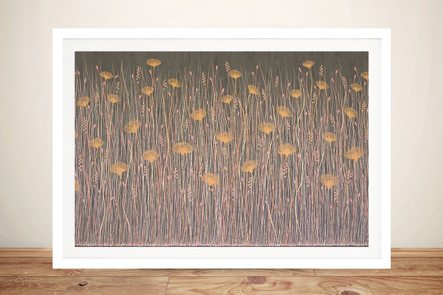 Caramel Kisses Abstract Floral Print on Canvas