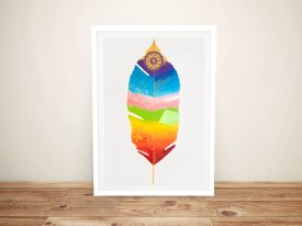 Chakra Feather Framed Lisa Frances Judd Art