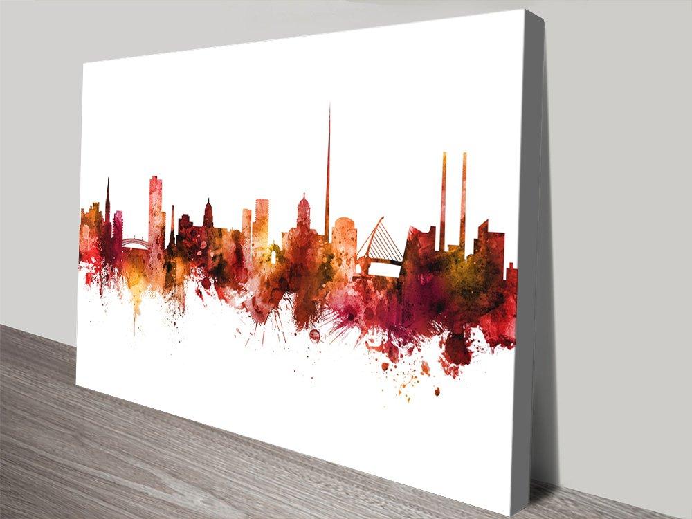 Dublin Ireland Skyline Wall Art in Red