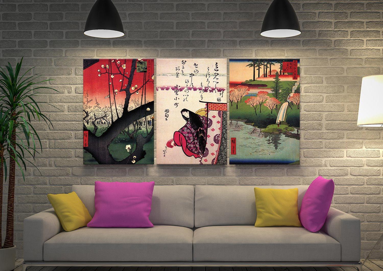 Hiroshige Japanese Triptych Wall Art