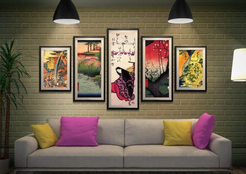 Hiroshige Framed 5-Piece Art Gift Ideas AU