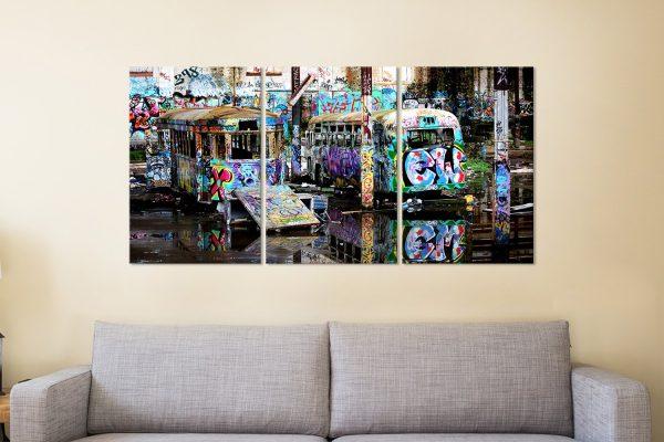 Steve McLaren Tram Graffiti Canvas Prints AU
