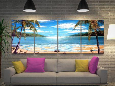Paradise Long Island 4-Panel Canvas Wall Art