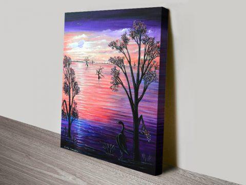 Purple Moon Landscape Print Home Decor AU