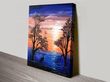 Sunset Blues Watercolour Print on Canvas