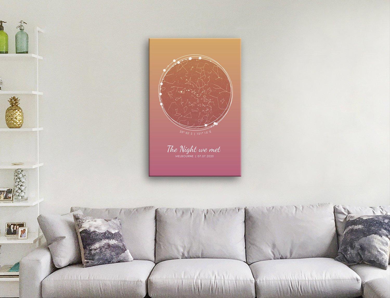 Sunset Tones Custom Star Chart Artwork