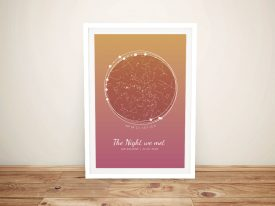 Sunset Tones Personalised Star Map