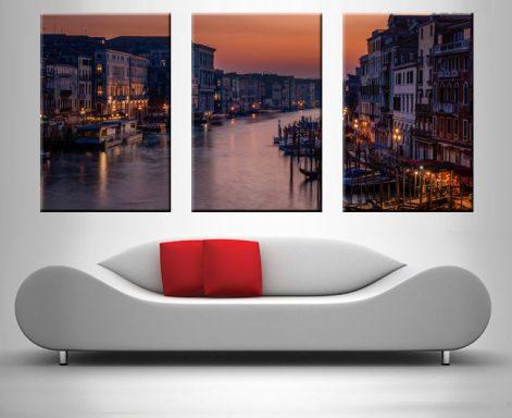 Venice Grand Canal Triptych Landscape Art
