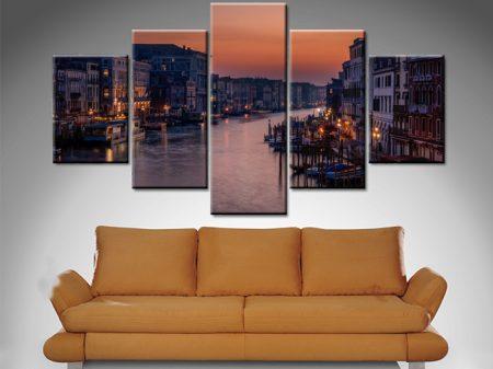 Venice Grand Canal 5-Panel Canvas Artwork