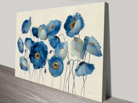 Aquamarine Floral on Cream Canvas Print