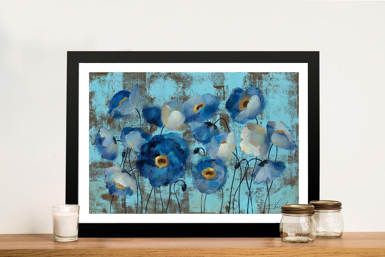Aquamarine Floral on Blue Framed Artwork