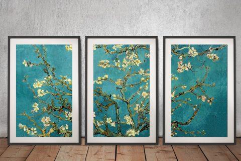 Framed Floral Van Gogh 3-Piece Wall Art AU