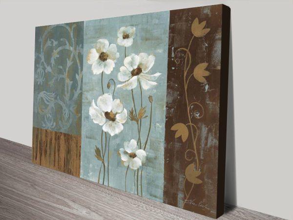 Blue Irides Anemones Floral Print on Canvas