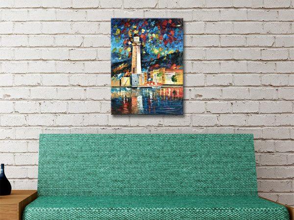City Lighthouse Atmospheric Canvas Art AU