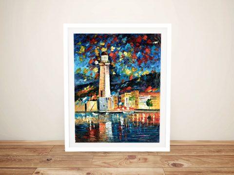 City Lighthouse Framed Leonid Afremov Print