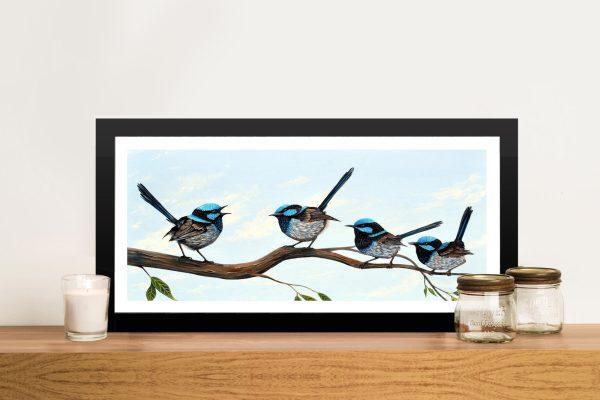Framed Fairy Wrens Panoramic Art Gift Ideas AFramed Fairy Wrens Panoramic Art Gift Ideas AUU
