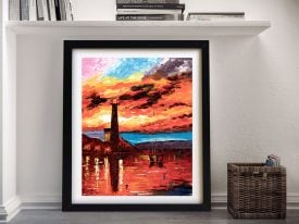 Firey Lighthouse Framed Canvas Wall Art