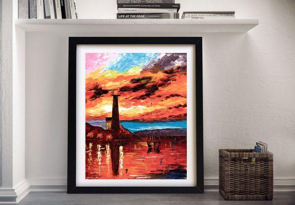 Firey Lighthouse Framed Canvas Wall Art