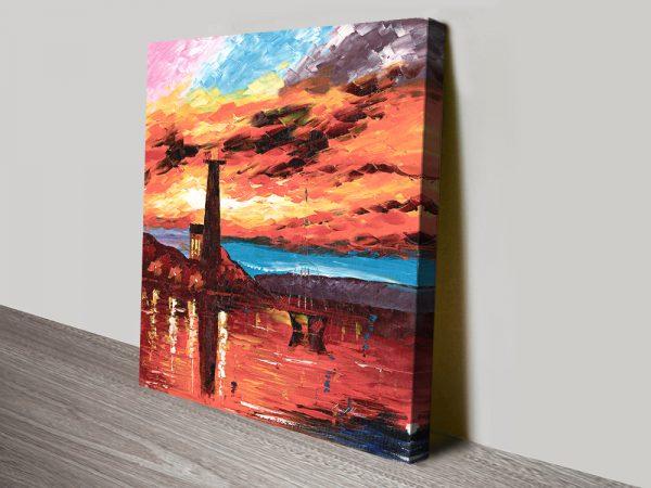 Firey Lighthouse Ready to Hang Afremov Art