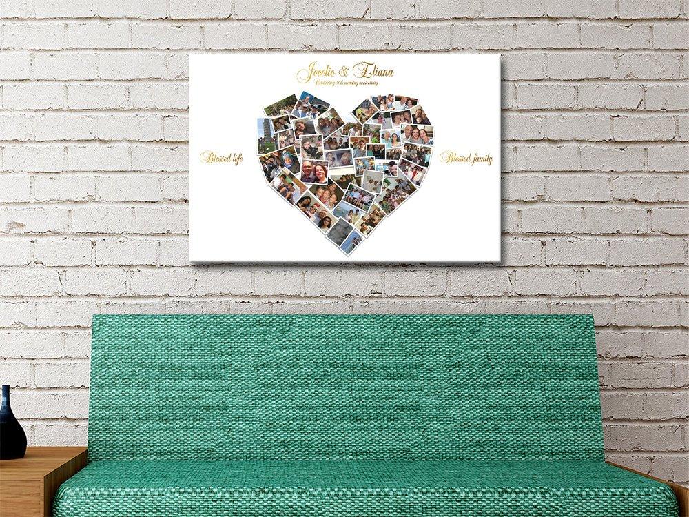 Heart Shape Photo Collage Canvas Artwork