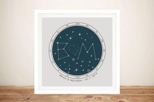 Initial Custom Star Map Wall Art