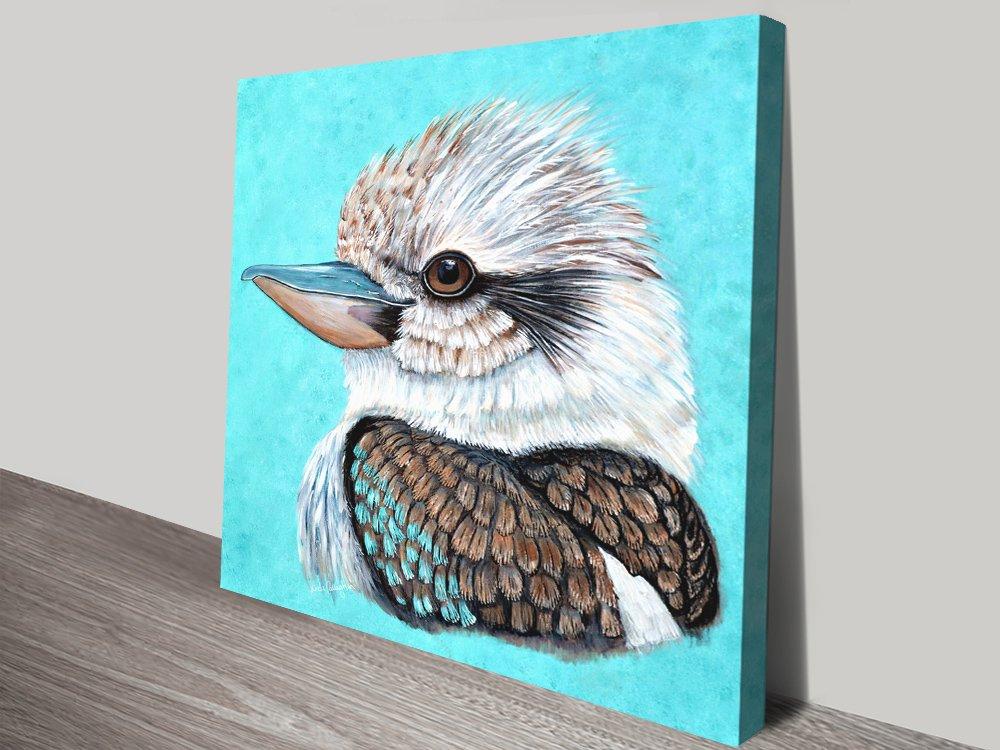 Kookaburra Gaze Wildlife Print on Canvas