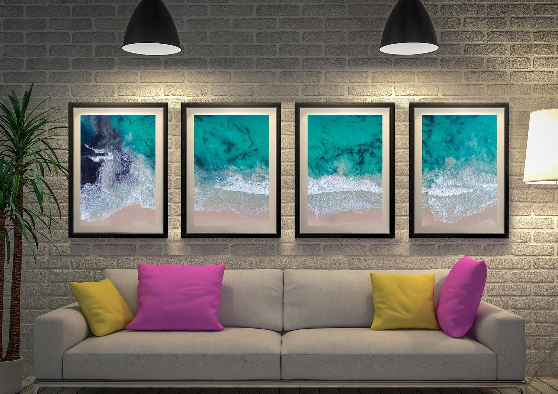 Framed Sovereign Waves 4-Piece Canvas Set