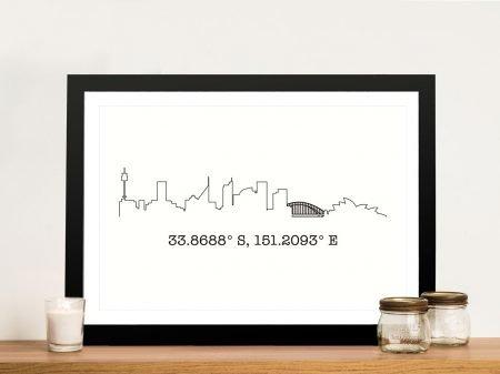 Sydney Skyline Artwork with Coordinates
