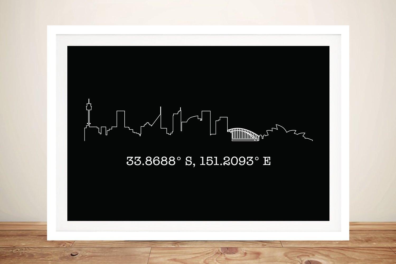 Sydney Skyline Outline Framed Print on Canvas