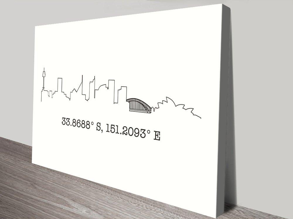 Buy a Sydney Skyline & Coordinates Print AU