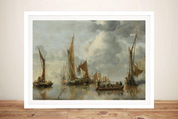 Framed Jan Van de Capelle Nautical Art AU