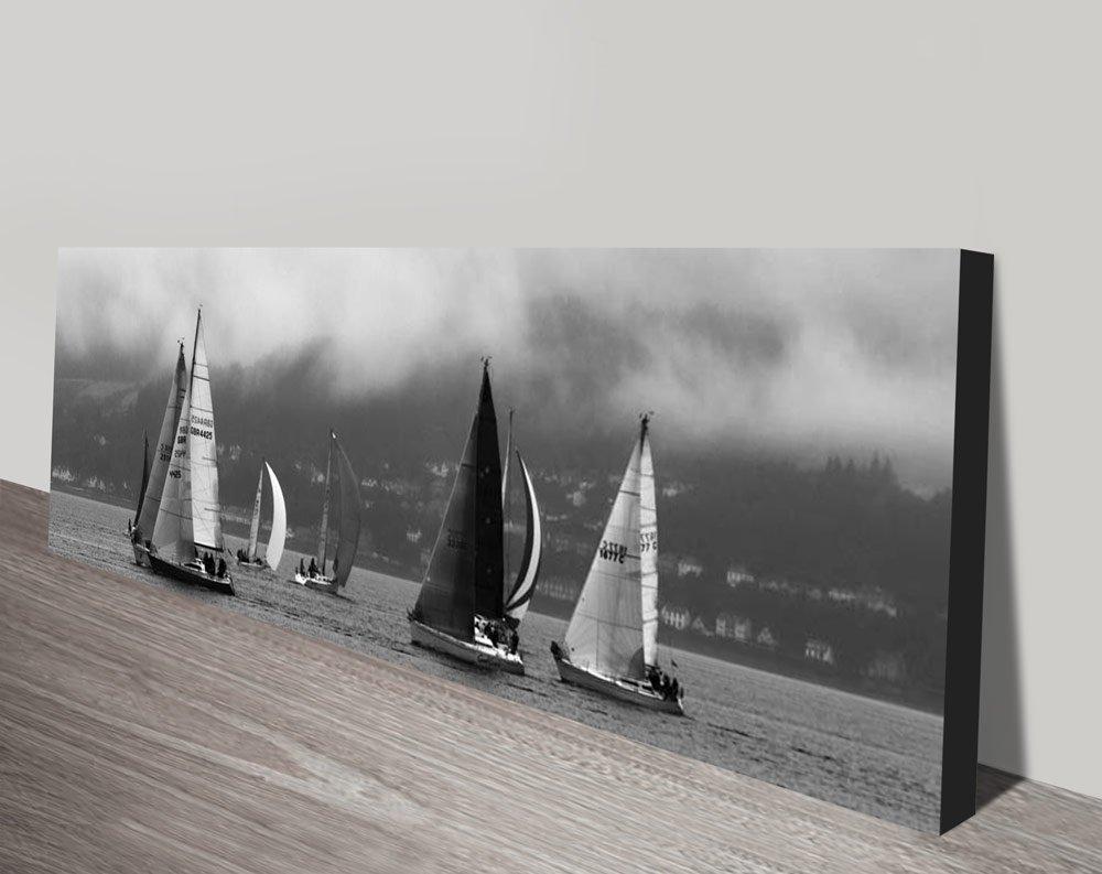 The Race Black & White Panoramic Wall Art