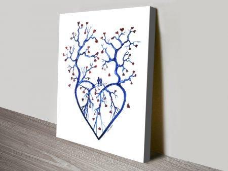 Tree of Hearts Romantic Canvas Wall Art