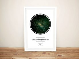 Two Hearts Personalised Star Map Wall Art