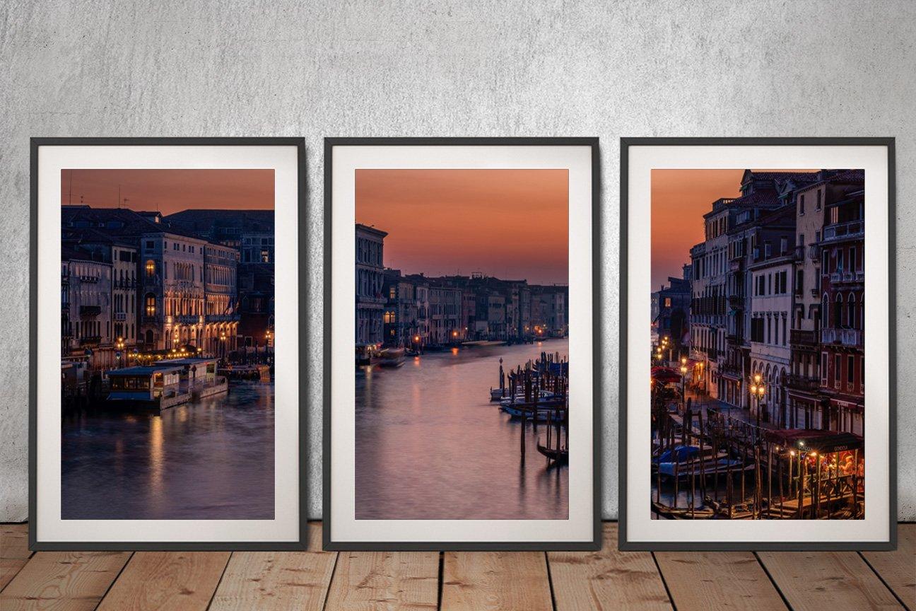 Framed Venice Grand Canal 3-Panel Art Set