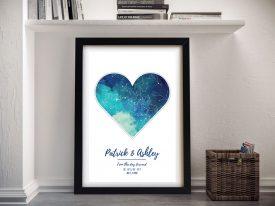 Bespoke Watercolour Heart Star Map Art