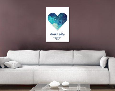 Watercolour Heart Map Cheap Custom Art AU