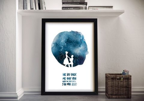 Framed Watercolour Silhouette Star Chart AU
