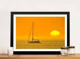Backlit Boat at Dawn Seascape Canvas Print