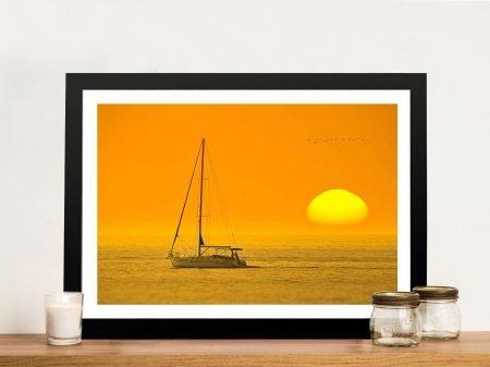 Backlit Boat at Dawn Seascape Canvas Print