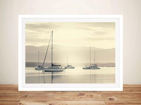 Bay Boats at Dawn Nautical Wall Art