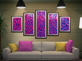 Framed Abstract Coral Split Diamond Art