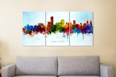 Adelaide Skyline Triptych Print on Canvas