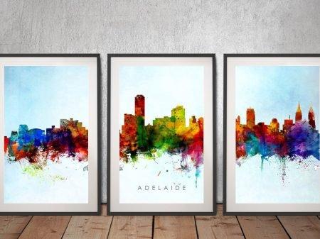 Adelaide Multicolour Watercolour Skyline Art