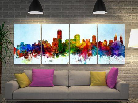 Buy a 4-Panel Adelaide Skyline Canvas Art Set